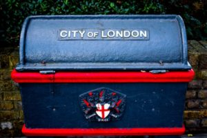 Elegant waste bin with City of London embossed on it and a coat of arms