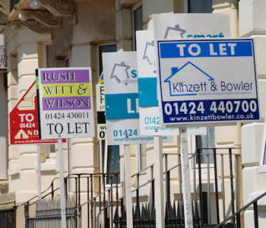 A row of To Let signs from different estate agents