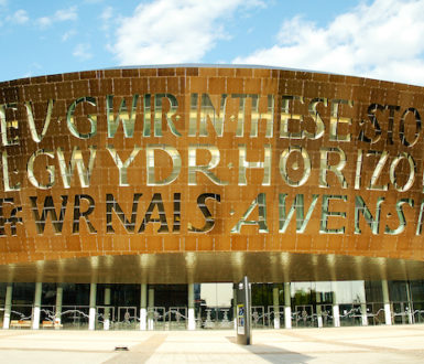 Millennium Centre in Cardiff featuring text in Welsh and English