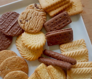 A plate of mixed biscuits