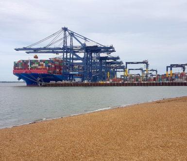 Cargo ship being unloaded in Felixstowe