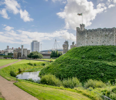 Cardiff Castle with a modern skyline in the background