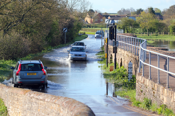 Cars driving on a flooded road
