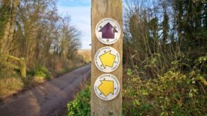Wooden pole showing yellow arrows for public footpaths