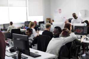 Group of people working in an office