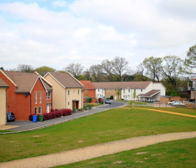 Modern housing development made to look like a village