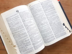 Dictionary lying open