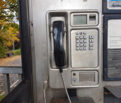 A public payphone. The word blower is slang for phone