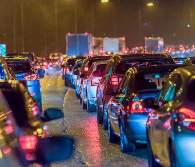 Night scene of busy motorway