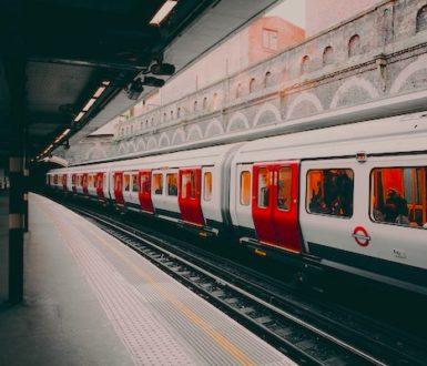 London Underground train in a station