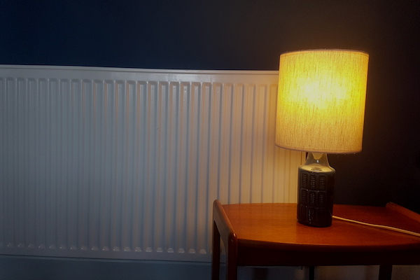 Lamp in front of a radiator
