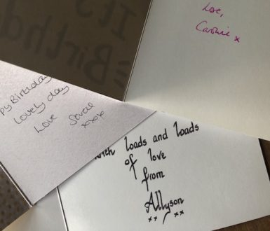 Cards from people who have all added an X after their name