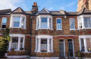Edwardian Houses with bay window and decorative railings