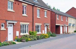 street of modern terraced houses